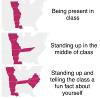 The Middle, Fun, and Class: Being present in  class  Standing up in the  middle of class  Standing up and  telling the class a  fun fact about  yourself All to impress m'ladies