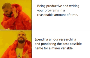 I do this to much.: Being productive and writing  your programs in a  reasonable amount of time  Spending a hour researching  and pondering the best possible  name for a minor variable. I do this to much.