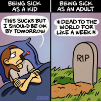 BEING Sick  BEING Sick  AS A KiD  AS AN ADULT  THis SUCKS BUT  *DEAD TO THE  I SHOULD BE OK  WORLD FOR  BY TOMORROW  LiKE A WEEK  RIP  M. PATRINOS  /BU22 FEED RIP (From Maritsa Patrinos: https://www.facebook.com/SeasonalDepressionComic/)