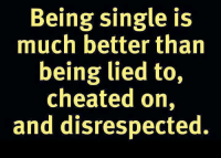 Memes About Being Single: Being single is  much better than  being lied to,  cheated on,  and disrespected.