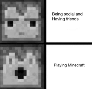 IT is better: Being social and  Having friends  Playing Minecraft IT is better
