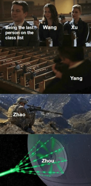 Tap to see the full image: Being the last Wang  person on the  class list  Xu  Yang  Zhao  Zhou Tap to see the full image