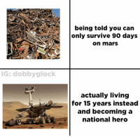 Memes, Mars, and Living: being told you  only survive 90 days  can  on mars  G: dobbyglock  actually living  for 15 years instead  and becoming a  national hero https://t.co/HyuHgWdB1T