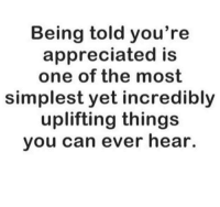 Being told you're  appreciated is  one of the most  simplest yet incredibly  uplifting things  you can ever hear.