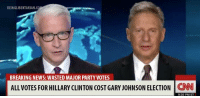 Credit to Manuel Untermoser: BEINGLIBERTARIAN  BREAKING NEWS: WASTED MAJOR PARTY VOTES  ALL VOTES FOR HILLARY CLINTON COST GARY JOHNSON ELECTION  CNN  930 PM ET Credit to Manuel Untermoser