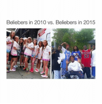 Beliebers, Girl Memes, and Go To: Beliebers in 2010 vs. Beliebers in 2015 going to da mall yay