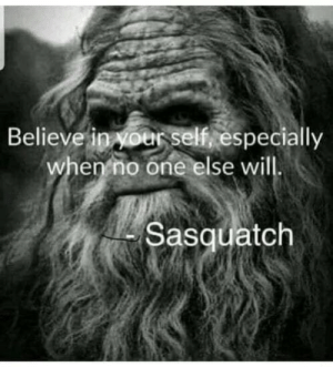 Meme, Sasquatch, and One: Believe in oer sel, especially  when no one else will  Sasquatclh Sasquatch meme