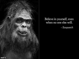 Memes, 🤖, and Sasquatch: Believe in yourself, even  when no one else will.  Sasquatch  mel k