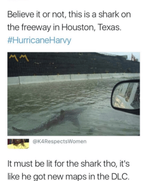 Must feel good via /r/memes https://ift.tt/2NdAgPm: Believe it or not, this is a shark on  the freeway in Houston, Texas.  #HurricaneHarvy  MM  @K4RespectsWomen  It must be lit for the shark tho, it's  like he got new maps in the DLC Must feel good via /r/memes https://ift.tt/2NdAgPm