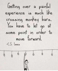 A little Wednesday motivation for you!: beling over a pain  elling over a painlu  experience is much Ike  experience is much like  crossing monkey bars.  You have to let g at  some point in order to  some poin order lo  move for ward  -C.S. lewis  .. Lewis A little Wednesday motivation for you!