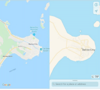 "im26andwhatisthis:  mapsontheweb:  Belize City on Google Maps vs. Apple Maps.  : Belize City  Municipal  Airport  Belize City  Nestern  Fort Stree  Tourism  Belize City  Belizean Beach  C78""  Google  Q Search for a place or address im26andwhatisthis:  mapsontheweb:  Belize City on Google Maps vs. Apple Maps."