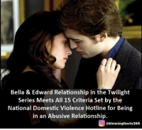 Twilight: Bella & Edward Relationship in the Twilight  Series Meets All 15 Criteria Set by the  National Domestic violence Hotline for Being  in an Abusive Relationship.  g @blowingfacts365
