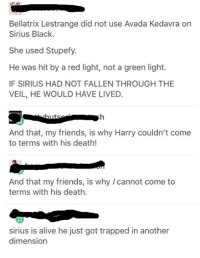 Alive, Memes, and Trap: Bellatrix Lestrange did not use Avada Kedavra on  Sirius Black.  She used stupefy.  He was hit by a red light, not a green light.  IF SIRIUS HAD NOT FALLEN THROUGH THE  VEIL, HE WOULD HAVE LIVED  And that, my friends, is why Harry couldn't come  to terms with his death!  And that my friends, is why cannot come to  terms with his death.  sirius is alive he just got trapped in another  dimension ~Dobby