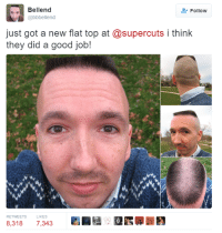 "Bellend  Follow  @bbbellend  just got a new flat top at @supercuts i think  they did a good job!  RETWEETS  8.318  7,343 ""Gimme the worst flat top you can muster!"""