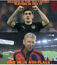 Wenger.. 😂: BELLERIN IS TOP TEN FASTEST  PLAYERS IN FIFA 17  OMEMESINSTA  bGINC  AND HE IS 4TH PLACE Wenger.. 😂