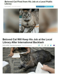 "America, Good Morning, and Good: Beloved Cat Fired from His Job at a Local Public  Library  Beloved Cat Will Keep His Job at the Local  Library After International Backlash  RICKI HARRIS, Good Morning America  1 hour 22 minutes ago <p>When the library listens better than the FCC via /r/wholesomememes <a href=""http://ift.tt/2pQkFwR"">http://ift.tt/2pQkFwR</a></p>"