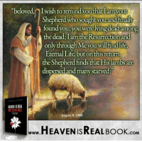 Memes, August 8, and 🤖: beloved, Iwish to remind you that I am your  Shepherd who sought you and finally  found you; you were lying dead among  the dead: I am the Resurrection and  only through e you will fin  Eternal Life, but on thisreturn,  the Shepherdfinds that Hislambs are  dispersed and many starved;  HEAEN ISREAL  August 8, 1988  HEAVEN ISREAL Book  .COM Be glad your Shepherd found you and saved you! http://www.tlig.org/en/messages/1149/