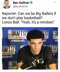 """I would love to see LaVar Ball get a press conference one of these days. Haha. HOOPSNATION: Ben Golliver  Reporter: Can we be Big Ballers if  we don't play basketball?  Lonzo Ball: """"Yeah, it's a mindset.  DRAFT 17  17 3D  a NBADraft  AFIT  IBADraft  DRI I would love to see LaVar Ball get a press conference one of these days. Haha. HOOPSNATION"""