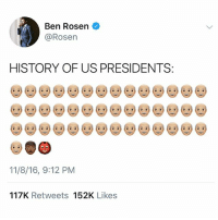 Memes, Nas, and History: Ben Rosen  @Rosen  HISTORY OF US PRESIDENTS:  11/8/16, 9:12 PM  117K Retweets 152K Likes Repost @ivancejatv: I'm out for presidents to represent me (say what?) I'm out for presidents to represent me (say what?) I'm out for dead presidents to represent me . . PresidentsDay Cc @NAS