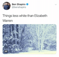 Elizabeth Warren, Memes, and White: Ben Shapiro  @benshapiro  Things less white than Elizabeth  Warren (GC)