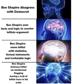 Facts, Hello, and Logic: Ben Shapiro disagrees  with Democrat  Ben Shapiro uses  facts and logic to counter  leftists argument  Ben Shapiro  owns leftist  with statistics,  factual statements  and irrefutable logic  Ben Shapiro  destroys leftist  via intellectual  flogging  leaving a trail of  leftist tears in his  wake Hello, cringe department? Yes, I'd like to file a claim.