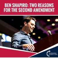 Ben Shapiro Is Spot On! The 2nd Amendment Is NOT About Hunting!   Here Are Two Reasons We MUST Defend It... #GunsSaveLives: BEN SHAPIRO: TWO REASONS  FOR THE SECOND AMENDMENT  TURNING  POINT USA Ben Shapiro Is Spot On! The 2nd Amendment Is NOT About Hunting!   Here Are Two Reasons We MUST Defend It... #GunsSaveLives