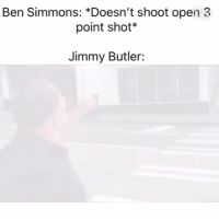 Not my rookie of the year @larnite • ➫➫➫ Follow @Staggering for more funny posts daily!: Ben Simmons: *Doesn't shoot open 3  point shot*  Jimmy Butler: Not my rookie of the year @larnite • ➫➫➫ Follow @Staggering for more funny posts daily!