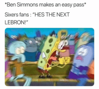 "Can't deny that 🤦‍♂️😂 nba nbamemes simmons sixers: ""Ben Simmons makes an easy pass*  Sixers fans: ""HES THE NEXT  LEBRON!""  NBAMEMES Can't deny that 🤦‍♂️😂 nba nbamemes simmons sixers"