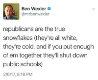 Memes, 🤖, and Public School: Ben Wexler  @mrbenwexler  republicans are the true  snowflakes (they're all white,  they're cold, and if you put enough  of em together they'll shut down  public schools)  2/6/17, 8:18 PM Indeed. Sigh ...