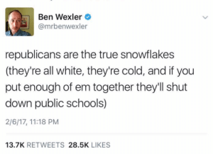 True, Tumblr, and Blizzard: Ben Wexler  @mrbenwexler  republicans are the true snowflakes  (they're all white, they're cold, and if you  put enough of em together they'll shut  down public schools)  2/6/17, 11:18 PM  13.7K RETWEETS 28.5K LIKES pocketrunner:The National Weather Service issues a blizzard warning today…