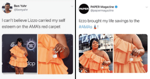 Lizzo's Incredibly Tiny Purse Won The AMAs: Ben Yahr  PAPER Magazine  @papermagazine  PAPER  @benyahr  I can't believe Lizzo carried my self  lizzo brought my life savings to the  #AMAS!  esteem on the AMA's red carpet  Lebe  abe  МЕВICAN  MUSIC  AWARDS  dop  pr a Lizzo's Incredibly Tiny Purse Won The AMAs