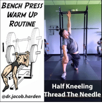 GET A BETTER BENCH PRESS Happy Monday everybody. We all know Monday means it's international bench day so let's get your bench grooving a little better. . This 🔥warm up routine is geared towards helping you get into the best position possible for a powerful press. The 🎯targets are the spine, shoulders, upper back, and hip flexors. . Here's how it goes: . 🔹️Spine Flexion-Extension - helps with arching if you choose to use it (not harmful BTW). . 🔹️Reverse Lunge - gets the hip flexors loosened up so you can pull your feet back under you to get tight. . 🔹️Half Kneeling Thread The Needle - works both the hip flexors and spine while also warming up the shoulders. Reach high to loosen up the front of the shoulder. . 🔹️Multi-angle Row - fires up the upper back and preps shoulder extension through a variety of bench grip positions. . 🔹️Bar work - I like to start with the bar for 20, the next set for 10, and then start working 3 to 5 reps as I work up towards my first working set. . I like about 15 to 20 reps on each one before getting under the bar. Use it for your next bench session and let me know how you like it! . Tag your favorite gym bro and share the wealth! . 🎵 - Kim - My Thang MyodetoxOrlando Myodetox: BENCH  PRESS  WARM UP  ROUTINE  Half Kneeling  Thread The Needle  @dr.jacob.hardern GET A BETTER BENCH PRESS Happy Monday everybody. We all know Monday means it's international bench day so let's get your bench grooving a little better. . This 🔥warm up routine is geared towards helping you get into the best position possible for a powerful press. The 🎯targets are the spine, shoulders, upper back, and hip flexors. . Here's how it goes: . 🔹️Spine Flexion-Extension - helps with arching if you choose to use it (not harmful BTW). . 🔹️Reverse Lunge - gets the hip flexors loosened up so you can pull your feet back under you to get tight. . 🔹️Half Kneeling Thread The Needle - works both the hip flexors and spine while also warming up the shoulders. Reach high to loosen up the front of the shoulder. . 🔹️Multi-angle Row - fires up the upper back and preps shoulder extension through a variety of bench grip positions. . 🔹️Bar work - I like to start with the bar for 20, the next set for 10, and then start working 3 to 5 reps as I work up towards my first working set. . I like about 15 to 20 reps on each one before getting under the bar. Use it for your next bench session and let me know how you like it! . Tag your favorite gym bro and share the wealth! . 🎵 - Kim - My Thang MyodetoxOrlando Myodetox