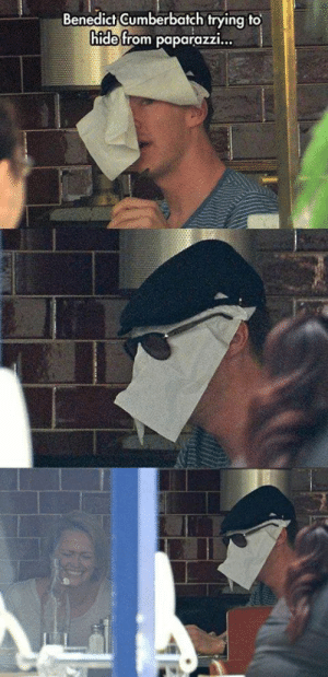 I love this man: Benedict Gumberbatch trying to  hide from paparazzi... I love this man