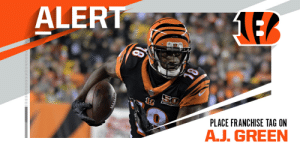 Bengals placing franchise tag on WR A.J. Green. (via @TomPelissero) https://t.co/OOh7QcpfuU: Bengals placing franchise tag on WR A.J. Green. (via @TomPelissero) https://t.co/OOh7QcpfuU