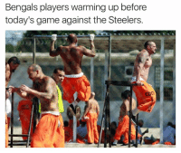 LMAO!!!!  Credit - Fake SportsCenter: Bengals players warming up before  today's game against the Steelers. LMAO!!!!  Credit - Fake SportsCenter