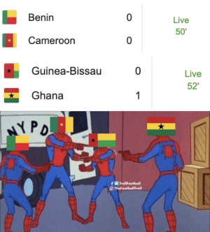 Right now in #AFCON2019 https://t.co/GlGVeHmBDp: Benin  0  Live  50'  Cameroon  0   Guinea-Bissau  0  Live  52'  Ghana  1  H   NYPO  fTrollFootball  TheFootballTroll Right now in #AFCON2019 https://t.co/GlGVeHmBDp