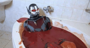 "Internet, Tumblr, and Blog: benkinsky:  fakehistory: Ant-man bathing in hot sauce for bonus damage (2019) I hate that you don´t have to give extra content because everyone on the internet already knows what´s going on and why hot sauce would be considered ""bonus damage"""