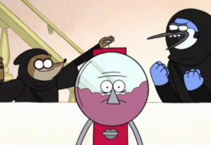 Benson being bothered by Mordecai And Rigby: Benson being bothered by Mordecai And Rigby