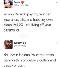 Lmao, Lol, and Memes: Benz.  Damnlts_Kia  im only 19 and I pay my own car  insurance, bills, and have my own  place. Yall 20+ still living off your  parents lol  turkey leg  @Namastay  You live in Indiana. Your total costs  per month is probably 2 dollars and  a sack of corn Lmao