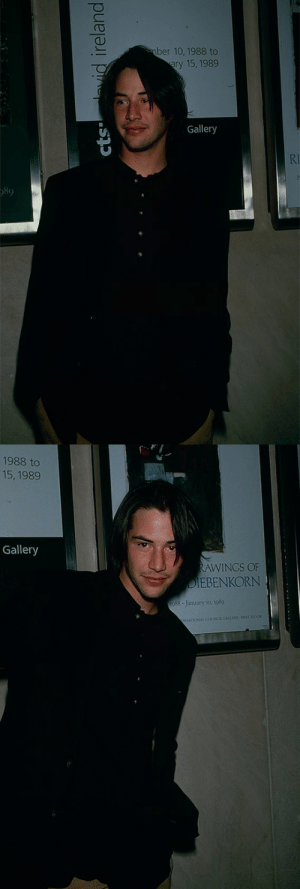 Tumblr, Blog, and Keanu Reeves: ber 10, 1988 to  ary 15, 1989  Gallery  RI  989  cts vdireland   1988 to  15, 1989  Gallery  RAWINGS OF  DIEBENKORN  1988-January 10, 1989  (RNATIONAL COUNCIL GALLEoc FOSTFLOOR shesnake: Keanu Reeves, c. 1989