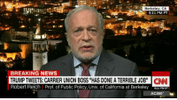 "Memes, Breaking News, and Chat: Berkeley, CA  5:11 PM PT  BREAKING NEWS  TRUMP TWEETS: CARRIER UNION BOSS ""HAS DONE A TERRIBLE JOB"" CNN  8:11 PM ET  AC360° Robert Reich slams Donald J. Trump for attacking union boss on Twitter: ""You are looking and acting as if you are mean and petty, thin-skinned and vindictive. Stop this. This is not a fireside chat."" http://cnn.it/2gmAXqd"