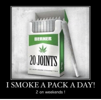 Marijuana: BERNER  20JOINTS  20 MARIJUANA CIGARETTES  I SMOKE A PACK A DAY!  2 on weekends!