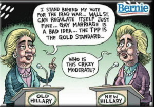 Saw this on Facebook. Don't know who the artist is (sorry). But this is true + funny so i had to share.: Bernie  I STAND BEHIND MY VOTE  FOR THE IRAQ WAR.. WALL ST.  CAN REGULATE ITSELF JUST  FINE... GAY MARRIAGE I5  A BAD IDEA... THE TPP IS  THE GOLD STANDARD.  WHO IS  THIS CRAZY  MODERATE?  OLD  HILLARY  NEW  HILLARY Saw this on Facebook. Don't know who the artist is (sorry). But this is true + funny so i had to share.
