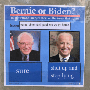 obvious: Bernie or Biden?  Be informed. Compare them on the issues that matter  Issue: mom i don't feel good can we go home  shut up and  Sure  stop lying  IH/ProsidentialRaceMemes  obvious plant