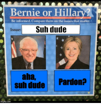Bernie or Hillary?  Be informed. Compare them on the issues that matter.  Suh dude  Issue:  ana,  Suh dude  Pardon?  imgflip.com Dank issues