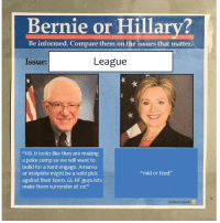 """There are 2 kinds of people..: Bernie or Hillary?  Be informed. Compare them on the issues that matter  League  Issue:  """"Fill. t looks like they are making  a poke comp so we will want to  build for a hard engage. Amumu  """"mid or feed""""  or Malphite might be a solid pick  against their team. GL HF guys lets  make them surrender at 20!""""  obvions plant There are 2 kinds of people.."""