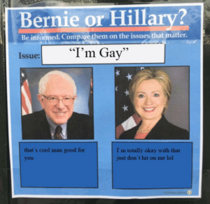 "Dont Hit On Me: Bernie or Hillary?  Be informed. Compare them on the issues that matter.  ""I'm Gay""  Issue:  that's cool man good for  I'm totally okay with that  just don't hit on me lol  you  abvimas pla"