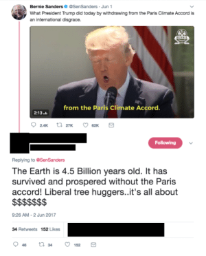 Bernie Sanders, Tumblr, and Blog: Bernie Sanders@SenSanders Jun 1  What President Trump did today by withdrawing from the Paris Climate Accord is  an international disgrace.  from the Paris Climate Accord  2:13.  Following  Replying to @SenSanders  The Earth is 4.5 Billion years old. It has  survived and prospered without the Paris  accord! Liberal tree huggers..it's all about  9:26 AM-2 Jun 2017  34 Retweets 152 Likes memehumor:  It's all about the $$$$$$.