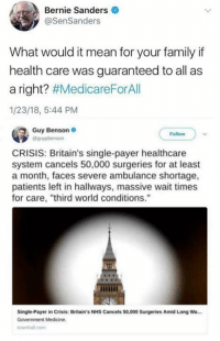"Bernie Sanders, Family, and Memes: Bernie Sanders  @SenSanders  What would it mean for your family if  health care was guaranteed to all as  a right? #MedicareForAll  1/23/18, 5:44 PM  Guy Benson  Follow  CRISIS: Britain's single-payer healthcare  system cancels 50,000 surgeries for at least  a month, faces severe ambulance shortage,  patients left in hallways, massive wait times  for care, ""third world conditions.""  Single-Payer in Crisis: Britain's NHS Cancels 50,000 Surgeries Amid Long Wa..  ownhall.com (GC)"
