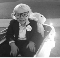This is Xander. He went trick or treating as Bernie Xanders. He had $27 in his pocket and a coach airline ticket. His family avoided houses with Trump signs.: Bernie This is Xander. He went trick or treating as Bernie Xanders. He had $27 in his pocket and a coach airline ticket. His family avoided houses with Trump signs.
